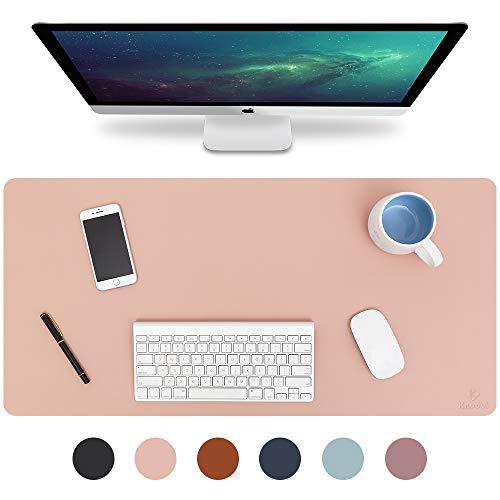 Knodel Tischunterlage, Schreibtischunterlage, 80cm x 40cm PU-Leder Tischunterlage, Laptop Tischunterlage, wasserdichte Schreibunterlage für Büro- oder Heimbereich, doppelseitig (Rosa / Silber)