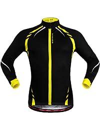 WOSAWE Uomini Fleece Termico Giacca Ciclismo Antivento Bici Bicicletta Abbigliamento Maglie (Giallo XL)