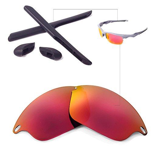 Walleva Wechselgläser Und Earsocks für Oakley Fast Jacket Sonnenbrille - Mehrfache Optionen (Feuerrot Polarisierte Linsen + Schwarzer Gummi)