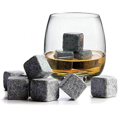 TRIXES Set 9 Pezzi, cubetti di granito di qualità, per raffreddare il whisky - Ice Stone