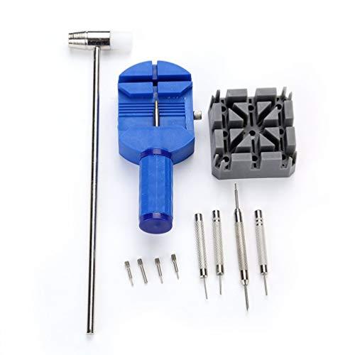 11PCS Kit de herramientas de reparación de relojes simples Reloj duradero Titular de la correa Pin Punzones Juego de herramientas de bricolaje para el hogar - Azul (Relojes Juegos De)