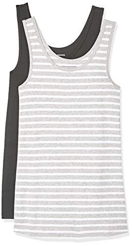 Amazon essentials - confezione da 2 canotte da donna, aderenti, grigio (light grey heather/white stripe/black), us s (eu s - m)