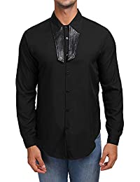 BUSIM Men's Long Sleeve Shirt Autumn Slim Long Sleeve Patchwork Solid Color Stitching Casual Fashion T-Shirt Tops...