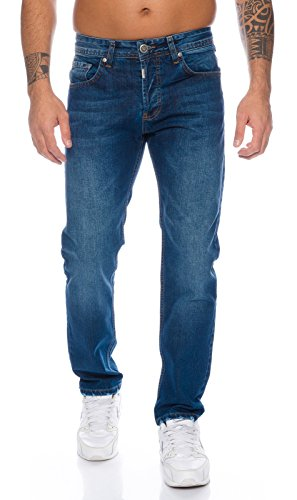 Lorenzo Loren Herren Jeans Hose Denim Jeans Used-Look Regular-Fit [LL324 - Dunkelblau - W34 L30]