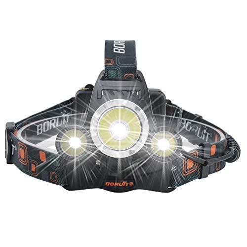 Asolym Scheinwerfer Starke LED-Scheinwerfer 3000 Lumen wiederaufladbare USB-Scheinwerfer 4 wasserdichte IPX5-Beleuchtungsmodi, geeignet für Camping, Wandern, Nachtangeln