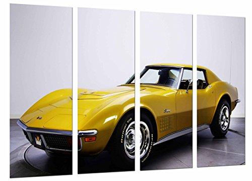 Cuadro Moderno Fotografico Coche Vintage Chevrolet Amarillo, Vehiculo Clasico, 131 x 63 cm, ref. 26876