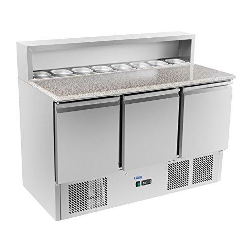 Royal Catering Kühltisch Pizzakühltisch Saladette RCKT-137/70-G (Granitarbeitsplatte, 70x140x110cm, 380l, 0-10°C, 300W) Silber