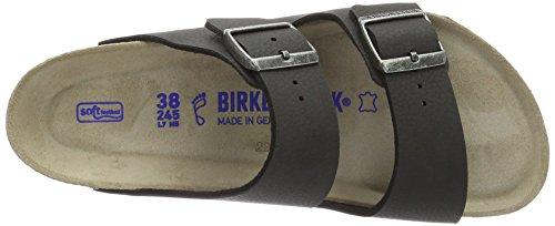 Birkenstock Unisex-Erwachsene Arizona Birko-Flor Softfootbed Pantoletten Schwarz (Desert Soil Black)