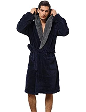 DMMSS Con Cap Nightgowns Coral Fleece Accappatoio uomo caldo pigiama di flanella , l , navy blue