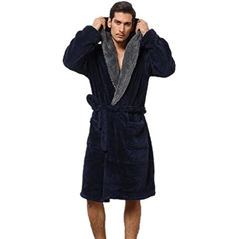 DMMSS Con Cap camisones Coral Fleece albornoz de los hombres cálido pijama de franela , l , navy