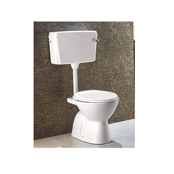 Ceramic Floor Mounted European Water Closet/Western Toilet Commode/EWC S Trap Concealed with Normal Seat Cover- Ivory Color & Premium Normal Flush Flush Tank Combo
