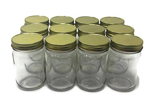 12Unze Mayo klar Glas mit Gold Metall Button Deckel von Richards Verpackung