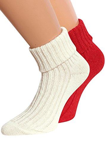 Wollsocken Damen mit Umschlag Socken aus Wolle Damen Wintersocken Farbig 2 Paar weiss/rot Gr. 39-42 (Socken Wolle Weiße)