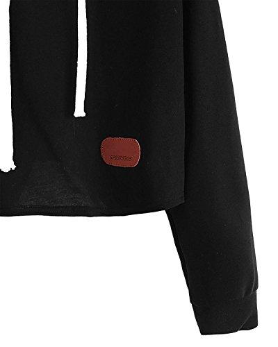 Minetom Damen Herbst Winter Kontrast Farbe Spleißen Kapuzenpullover Übergroß Beiläufig Brief Sweatshirt Top Sweatshirts Schwarz