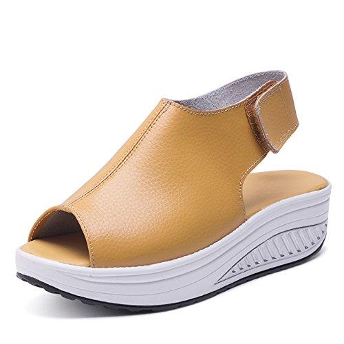 Bild von Ximu Sommer Sandalen Weibliche Keilabsatz Fisch Mund Dicken Boden angehoben Sandalen Schuhe 5cm