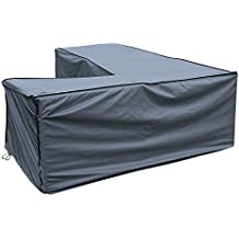 Funda / Cover / Protectora para Sofá de la esquina | 235 x 235 x 70/100 cm (L x A x A) | Gris | Impermeable | SORARA | Poliéster (UV 50+) | Para exterior Muebles de Jardín, Terraza, Patio