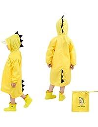 Chubasquero para niños, capa de lluvia de dibujos animados para niños Chaqueta de lluvia al aire libre con forma de dinosaurio para niños o niñas