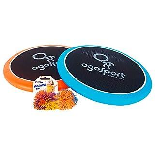 2 OgoSport Softdiscs (Ø30cm) mit elastischer Netzbespannung, 1 Ogo Ball Ball, 1 Busch Wusch Ball Spiel-Klassiker, im Karton Fang Wurfspiel