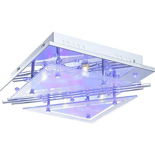 RGB LED Decken Lampe Glas Stäbe Wohnraum Strahler Chrom Leuchte FERNBEDIENUNG Globo 68246-4