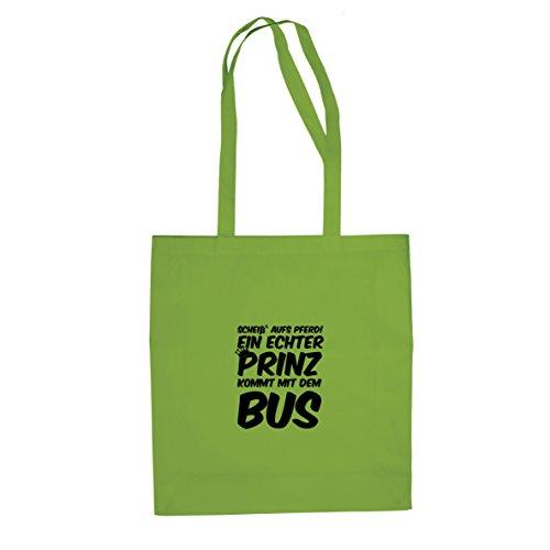 Ein echter Prinz kommt mit dem Bus - Stofftasche / Beutel Hellgrün