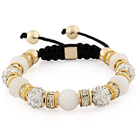 Morella Bracelet femme avec perles et zircons reglable doré - blanc