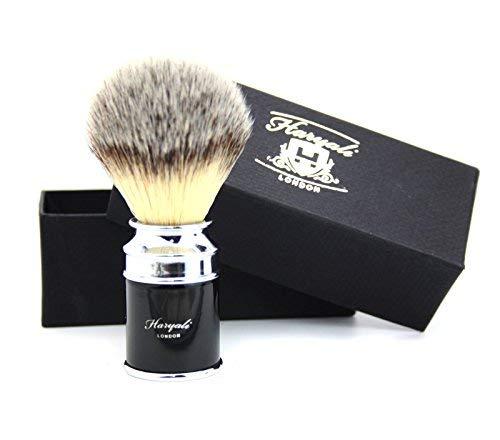 Pour Hommes Brosse de Rasage Cheveux Synthétiques Brosse de Rasage Noir & Argent Baril Manche Se Trouve Classique Boîte Cadeau Cadeau