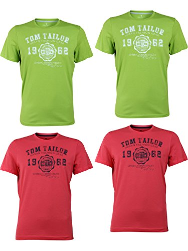 Green T-shirt Tee (TOM TAILOR Herren Rundhals T-Shirt Logo Tee Basic - 4er Pack, Größe:XXL, Farbe:2X Fant Plant Green 2X Plain Red)