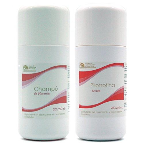 Champú de placenta (Champú de placenta) & pilotrofina (Loción de placenta) Kit para alopecia y tratamiento de la psoriasis