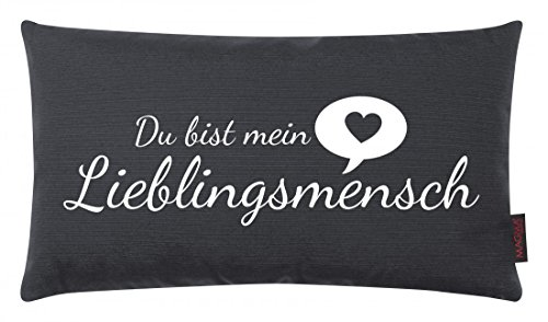 Magma Kissen LIEBLINGSMENSCH - 30 x 50cm - Kissen mit Spruch Du bist mein Lieblingsmensch - Dekokissen - Made in Germany, Farbe:Magma_anthrazit 007