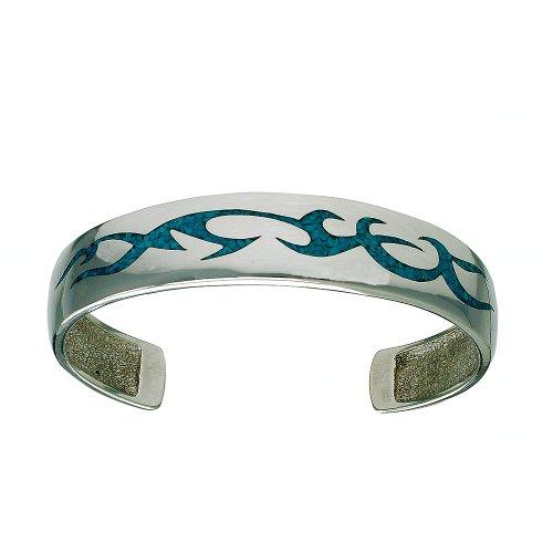 Indianerschmuck Armreif Tribal Türkis Chip Inlay 925 Sterling Silber