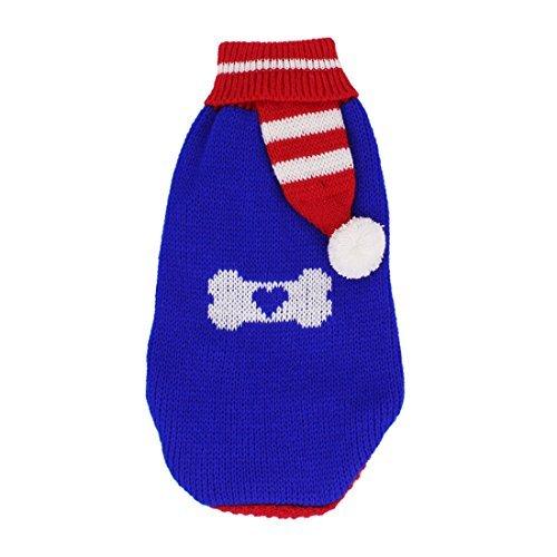 DealMux Medium Pom-Detail Strick gerippte Bündchen Haustier-Kleidung Pullover, Größe 16, Blau / Rot -