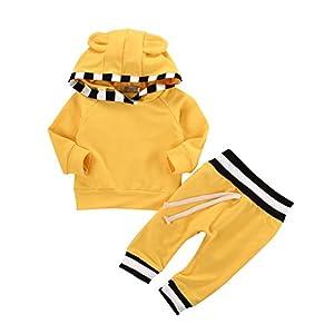 Ensemble de vêtements pour bébés Chemise à manches jaunes à capuchon et pantalon à dos pour 0-18 mois par Shiningup