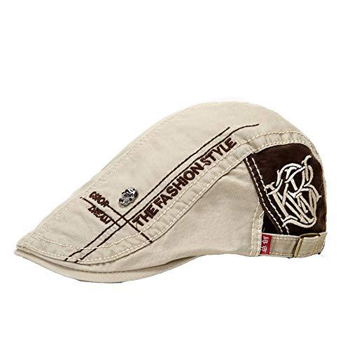 Demarkt Trendige Vintage Schirmmützen Herren Flatcap Beret ivy Newsboy Cap Gatsby Cabbie Schiebermütze (Beige)