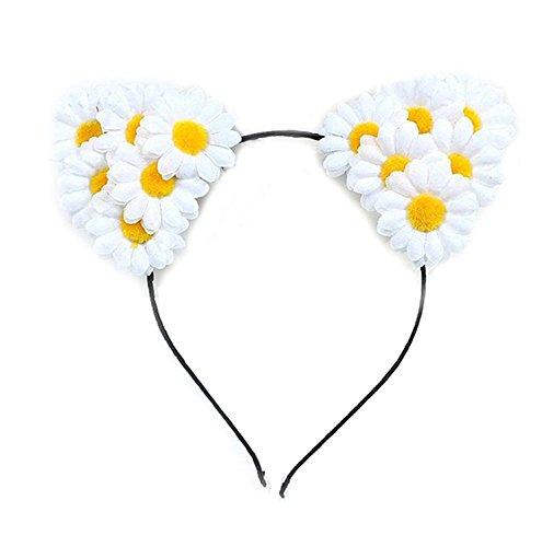 Cheerlife Damen Mädchen Blume Haarreif Katzenohren Haarband Sonnenblume Stirnband Cosplay Halloween Weihnachten Festival Party Kopfband Kostüm Accessories Weiß