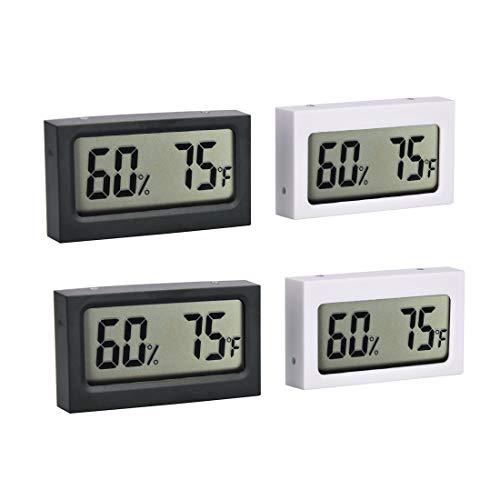 DEWEL 4 Stück Thermometer und Hygrometer Mini Indoor Digitale Temperaturanzeige Feuchtigkeit Monitor Thermometer Hygrometer für Büro, Wohnzimmer