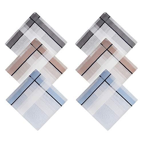 WANYING 6 Stücke Herren Gestreifte Taschentücher Stofftaschentücher mit Streifen 100% Baumwolle 43cm*43cm - Blau Grau Khaki - Gestreifte Herren-khaki