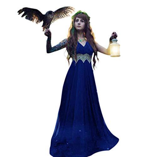 serliy Damen Mittelalterkleid Ärmelloses Kleider Gothic Viktorianischen Königin Kostüm V-Ausschnitt Renaissance Medieval Princess Dress Elfen-Cosplays Fantasy-Kostüme Erwachsene Karneval Fasching