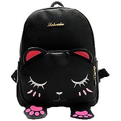 Bolsos Mochilas Mujer Casual con Patrón de Gato Impermeable Bolsos Paquete Grande Capacidad Salvaje y Lindo de Señoras y Chicas para Diario y Viaje Messenger Bag Backpack de Colegio de Moda (Negro)
