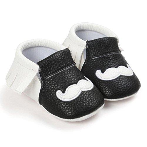kingko® Baby weiche Troddel Buchstabe weiche alleinige Säugling schuhe Troddel Schuhe Prinzessin Soft Sohle Freizeitschuhe( Mädchen) Schwarz