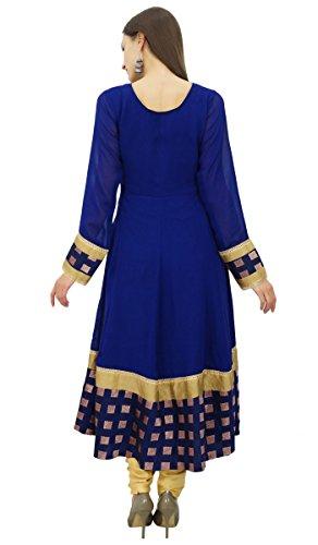Bimba concepteur georgette kurta de des kurti robe longue fête de personnalisés Bleu