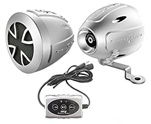 Pyle PLATVB84A Paire d'Haut-parleurs pour Moto/VTT/Motoneige avec Montage sur guidon Bluetooth 800 W Noir
