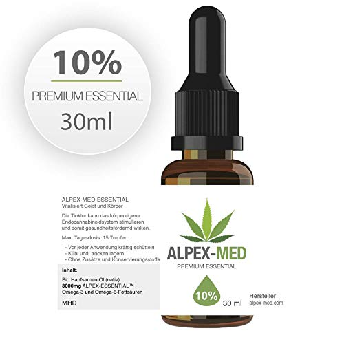 ALPEX-MED 10% ORIGINAL PREMIUM ESSENTIAL GELÖST IN HANFÖL - 30ml / 3000MG