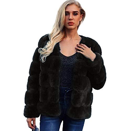 Biback Mujer Invierno Abrigo Piel Sintética, Chaqueta Mujeres Shaggy Faux Fur Coat Outwear Otoño e Invierno F0035 Abrigo de Piel sintética Faux Fox Pieles Chaqueta de Invierno
