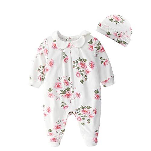 TOPofly Neugeborenes Baby, Blumen Runde Hals Der Strampler Federhülse Overalls Langer Anzug Outfit Kleidung Mit Weißen Hut 59 cm