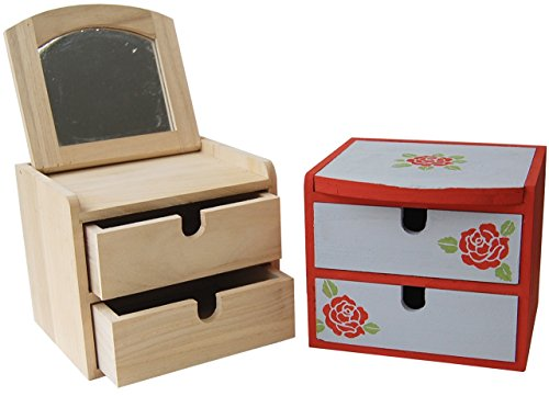 Country Love Crafts Jewellery Box Wooden Craft Blank with 2-Drawers and Mirror, Light Brown