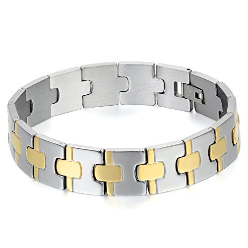 JewelryWe Bracciale da Uomo in Acciaio, Grande Braccialetto Largo Elegante, Cruz Dorada Attraente, Regalo Bracciali in Argento Oro cavaliere