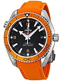 Omega Seamaster Planeta Océano Automático Negro Dial Naranja Goma Mens Reloj 23232422101001