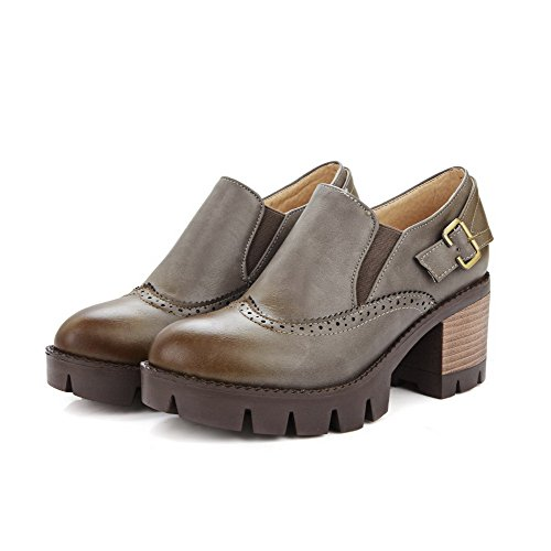 VogueZone009 Femme Matière Souple Rond Tire Couleur Unie Chaussures Légeres Gris