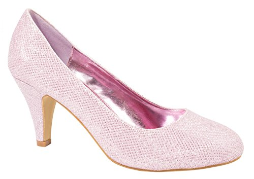 Elara Damen Pumps   Bequeme High Heels Glitzer   Hochzeit Stiletto 9373-E22108-Pink-37