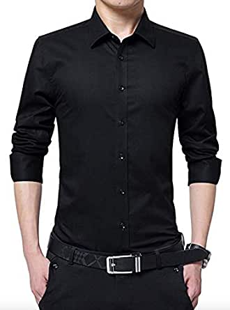 Peppyzone Men's Solid Casual Full Sleeves Polycotton Shirt (XS, Black)